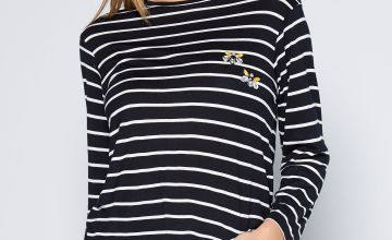 Stripe Jewel Embellished ¾ Sleeve T-Shirt