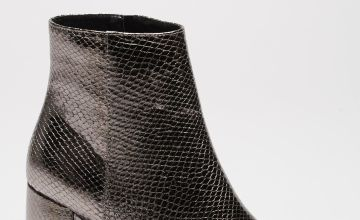 Metallic Texture Heeled Ankle Boots