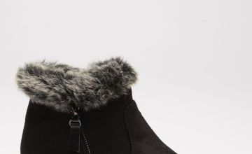 Comfort Faux Fur Top Ankle Wedge Boots