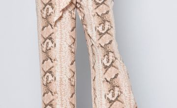 Snake Skin Print Wide Leg Trousers