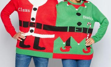 Christmas Two-Headed Santa and Elf Jumper