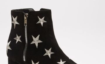 Embroidered Star Detail Mid Heel Ankle Boots