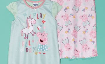 Young Girls Peppa Pig Pack of 2 Play All Day Nighties