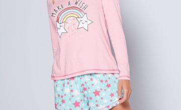 Long Sleeve Rainbow Shortie Pyjamas