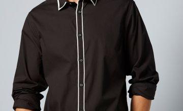 Black Long Sleeve Contrast Collar Shirt