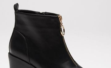 Block Heel Ankle Boots with Ring Pull