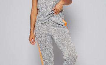 Grey Short Sleeve Tracksuit with Neon Orange Stripe Detail