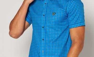 Voi Check Short Sleeve Blue Shirt