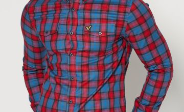 Voi Check Pocket Long Sleeve Blue Shirt