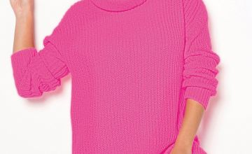 Neon Pink Roll Neck Jumper
