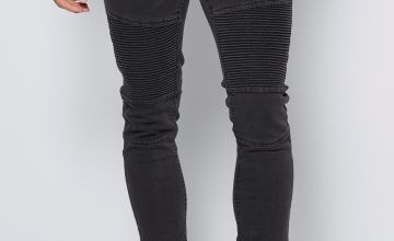Mens Charcoal Denim Biker Jeans