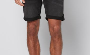 Only and Sons Black Wash Denim Shorts