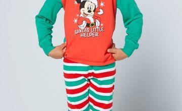 Young Boys Mickey Mouse Santas Little Helper Pyjamas