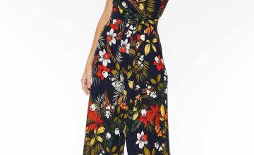 Quiz Floral Print V Neck Culotte Jumpsuit
