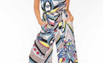 Quiz Pucci Print Culotte Jumpsuit with Tie Belt
