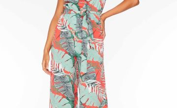Quiz Tropical Print Cold Shoulder Wrap Culotte Jumpsuit