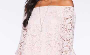 Quiz Lace Blush Bardot Top with Necklace