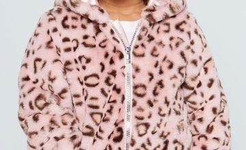 Younger Girls Leopard Faux Fur Hooded Jacket
