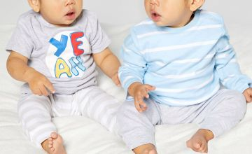 Baby Boys Pack of 2 YEAH Stripe T-Shirts