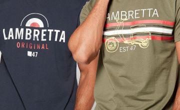 Lambretta 2 Pack Logo Khaki/Black T Shirts