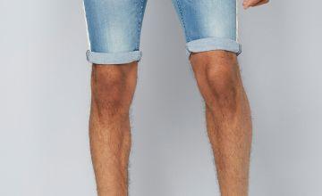 CRS55 Side Striped Denim Shorts
