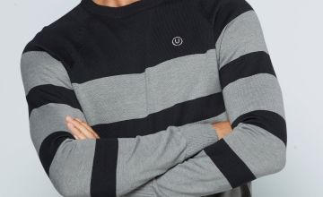 Duck and Cover Black/Grey Striped Jumper