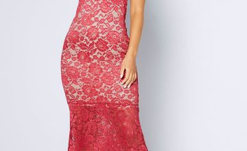 Two Tone Lace Sweetheart Neckline Fishtail Dress