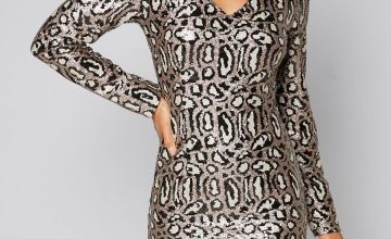 Long Sleeve Animal Sequin Dress