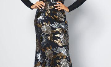 Premium Sequin Fishtail Maxi Dress