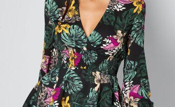 Tropical Floral Print Shirred Waist Jewel Top