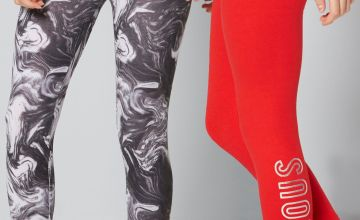 Older Girls Pack of 2 Slogan Marble-Effect Leggings