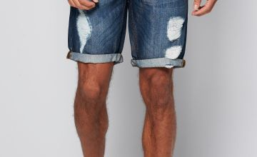 Ripped Denim Short Mid Wash