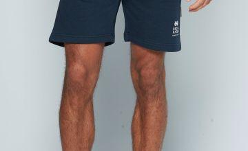 Crosshatch Striped Waist Navy Sweat Shorts