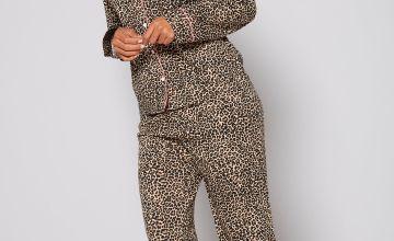 Leopard Print Long Sleeve Shirt Pyjamas