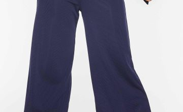 Quiz Navy Ribbed Culotte Trousers with Tie Belt