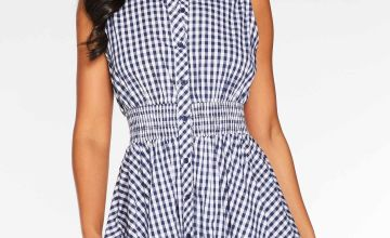 Quiz Woven Gingham Elastic Waist Skater Dress