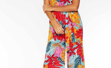 Quiz Tropical Print Tie Belt Culotte Jumpsuit