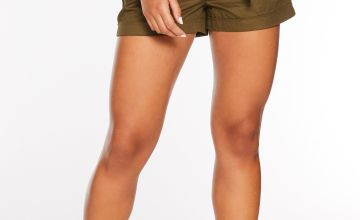 Quiz Khaki Woven Button Detail Shorts