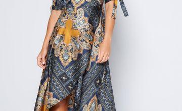 AX Paris Wrap Satin Printed Midi Dress