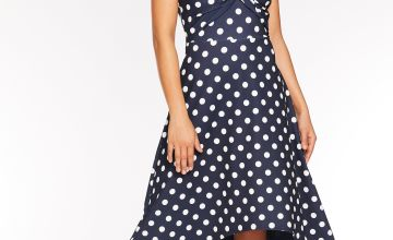 Quiz Knot Front Bardot Dip Hem Polka Dot Dress