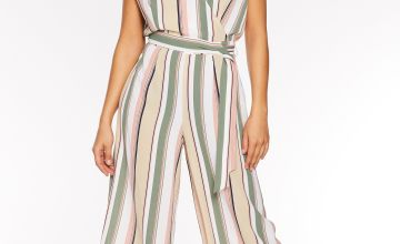 Quiz Wrap Culotte Jumpsuit with Tortoise Button Detail