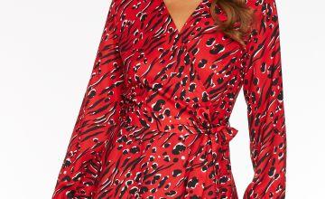 Quiz Satin Mixed Animal Print Long Sleeve Wrap Dress