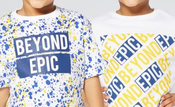 Younger Boys Pack of 2 Splatter Slogan T-Shirts