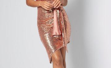 TFNC Sequin Drape Asymmetric Dress