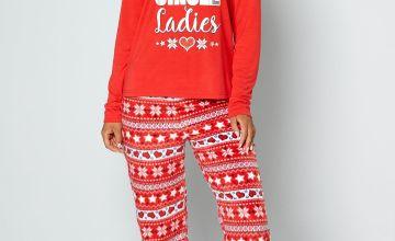 Jingle Ladies Red Pyjamas and Eyemask Set