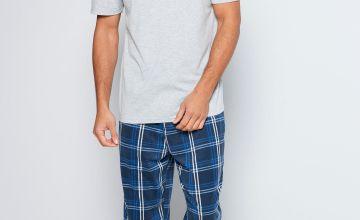 Short Sleeve Top and Cuff Fleece Trouser Pyjama Set