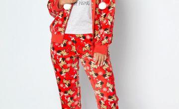 Christmas Pug 4-Piece Luxury Snuggle Pyjama Set