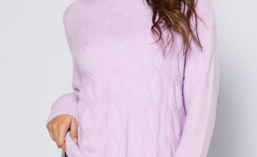 Cable Knitted Front Roll Neck Jumper