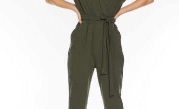 Quiz Khaki Wrap Jumpsuit