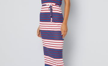 Navy + Red Tie Waist Stripe Maxi Vest Dress
